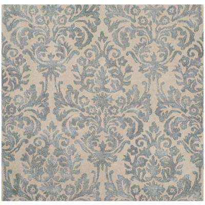 Bella Ivory/Silver 5 ft. x 5 ft. Square Area Rug