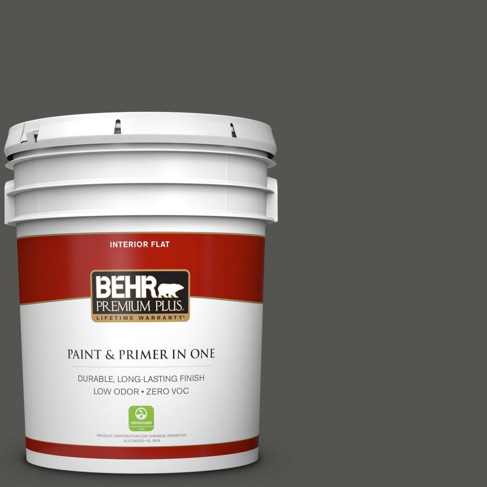 5 gal. #BXC-17 Dominant Gray Zero VOC Flat Interior Paint