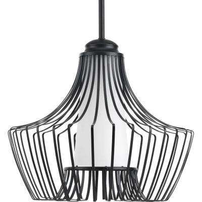Finn Collection 1-Light Black Large Pendant with Etched White Glass