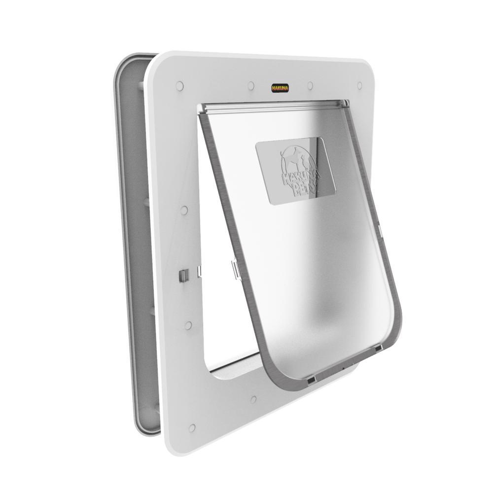 8.9 in. x 11.4 in. Medium Super Tough Pet Door, Removable TunneL, 2 Way Locks, White