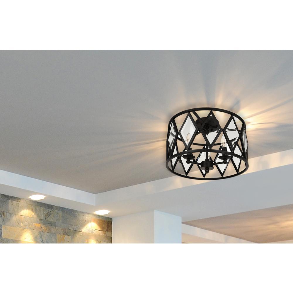 Home Decorators Collection Tessali 16 In 3 Light Bronze Prismatic Glass Flush Mount Ceiling Light 20364 001 The Home Depot