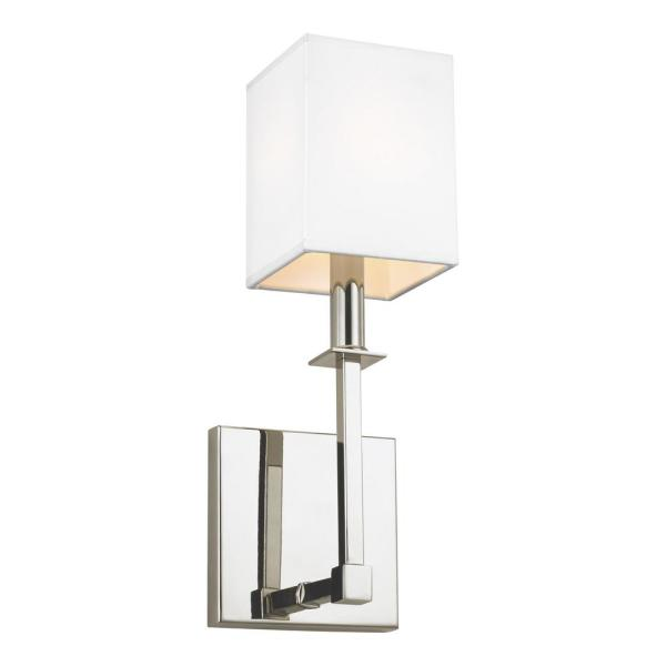 Quinn 1-Light Polished Nickel Sconce