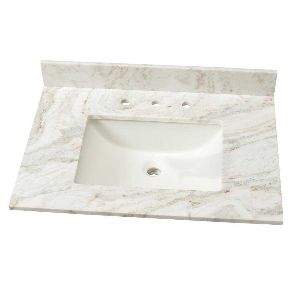 31 in. Marble Single Basin Vanity Top in Arabescato Venato with