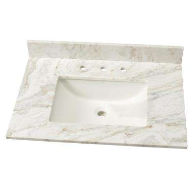 Marble Single Sink Vanity Top In Arabeo Venato With White
