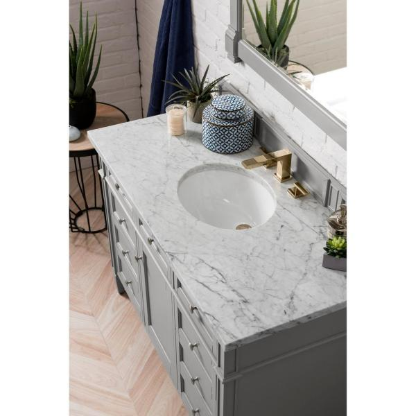 Brittany 48 in. Single Bath Vanity in Urban Gray with Marble Vanity Top in Carrara White with White Basin