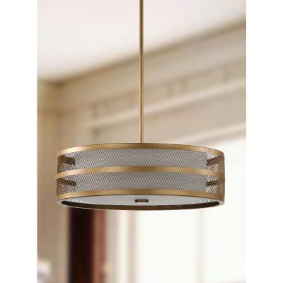 Greta Veil 4-Light Antique Gold Drum Pendant with Etched Off-White Shade