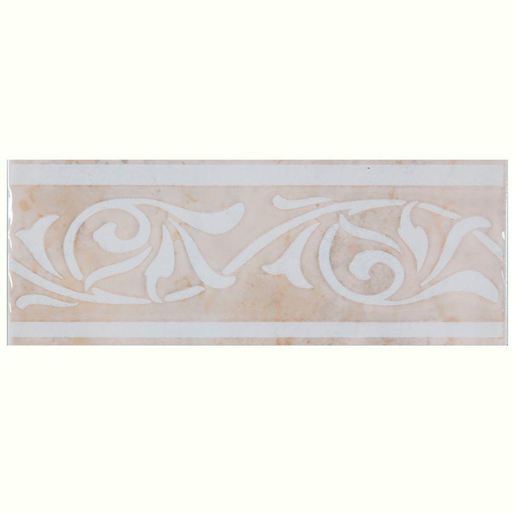 Merola Tile Joya Beige 3 in. x 8 in. Ceramic Listello Trim Tile-DISCONTINUED