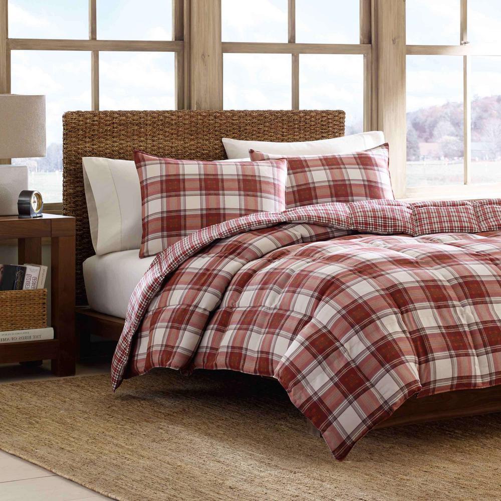 Edgewood 3-Piece Red Plaid Micro Suede Full/Queen Comforter Set