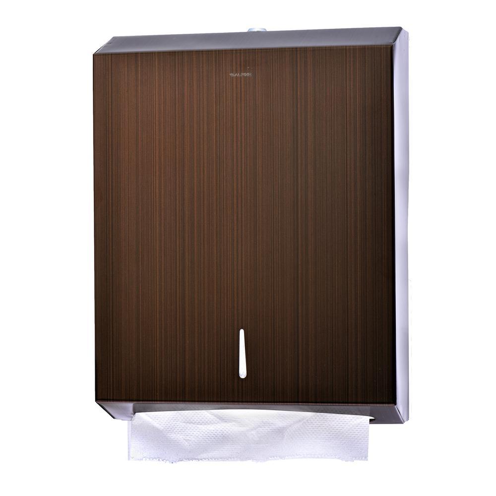 C-Fold/Multi-Fold Brown Brushed Stainless Steel Paper Towel Dispenser