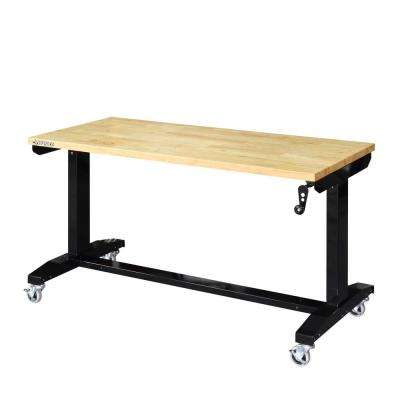 52 in. W x 24 in. D Adjustable Height Workbench Table in Black