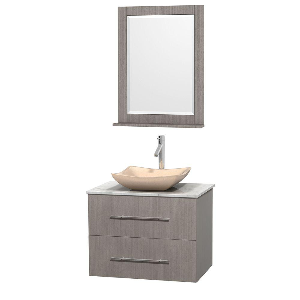Wyndham Collection Centra 30 in. Vanity in Gray Oak with Marble Vanity Top in Carrara White, Ivory Marble Sink and 24 in. Mirror