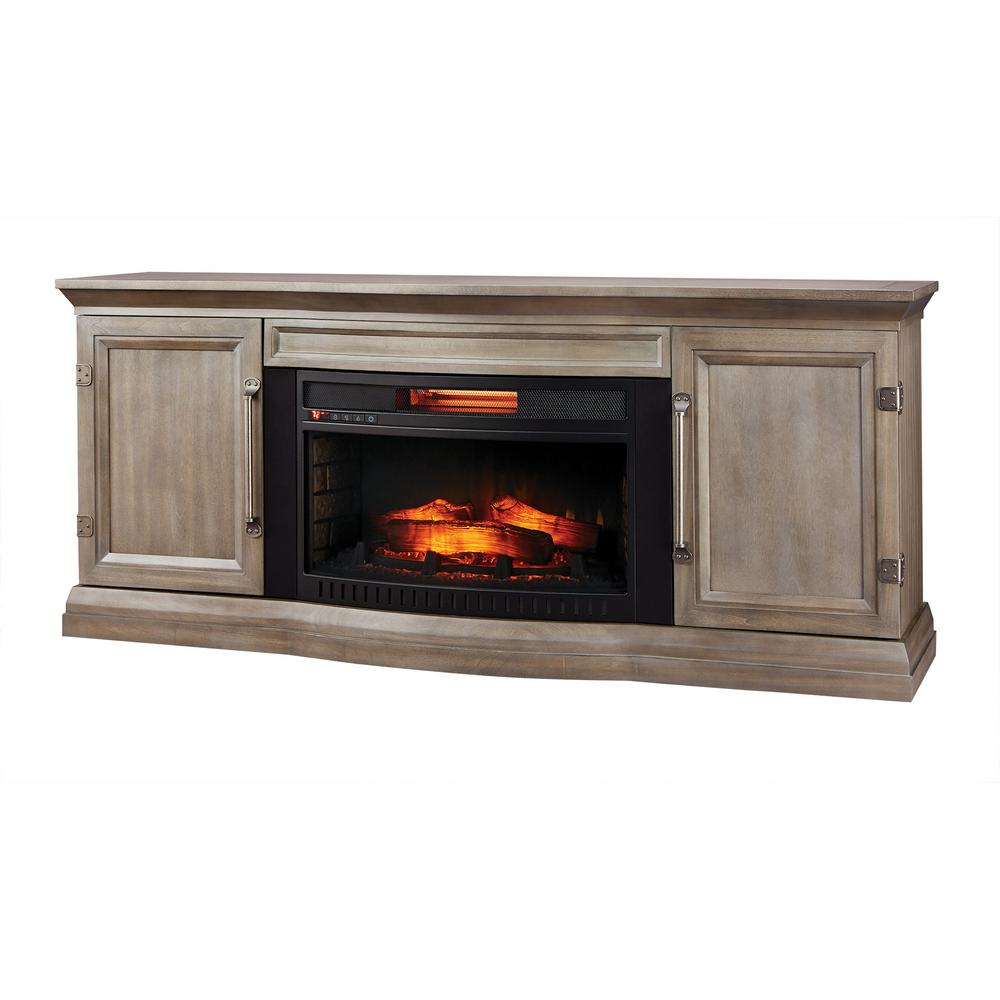 Home Decorators Collection Cinder Lake 65 in. TV Stand Infrared Electric Fireplace with Sound Bar in Gray Finish