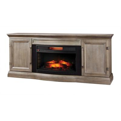 Cinder Lake 65 in. TV Stand Infrared Electric Fireplace with Sound Bar in Gray Finish