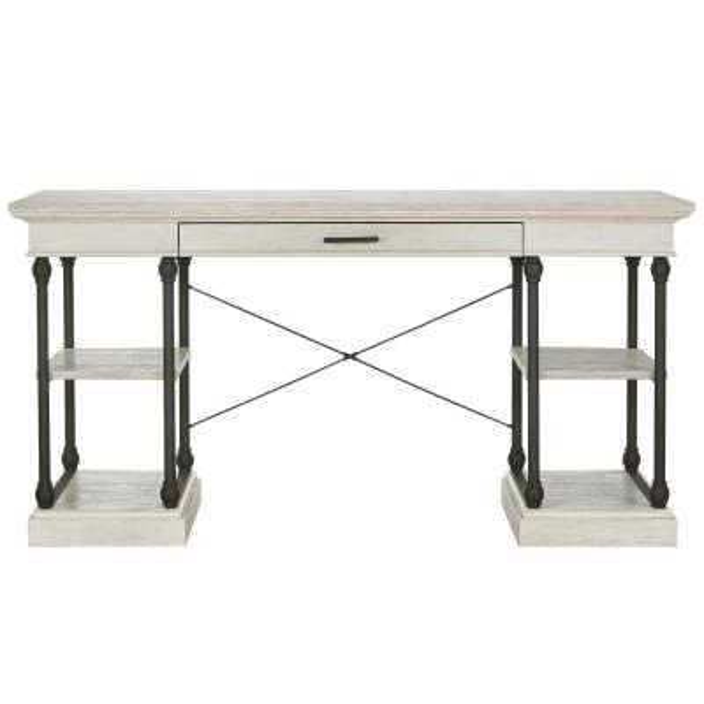 59 in. Rectangular White Wash 1 Drawer Writing Desk with Keyboard Tray