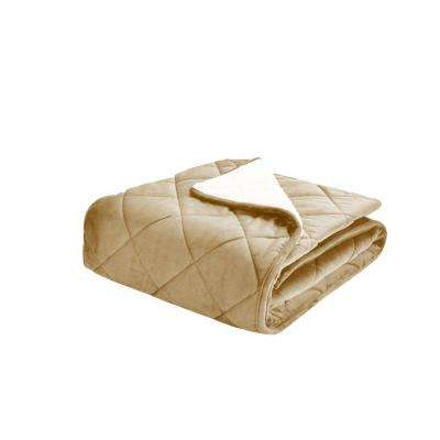 Velvet and Sherpa Foot Pocket Throw in Tan