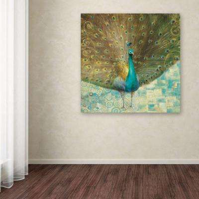 """35 in. x 35 in. """"Teal Peacock on Gold"""" by Danhui Nai Printed Canvas Wall Art"""