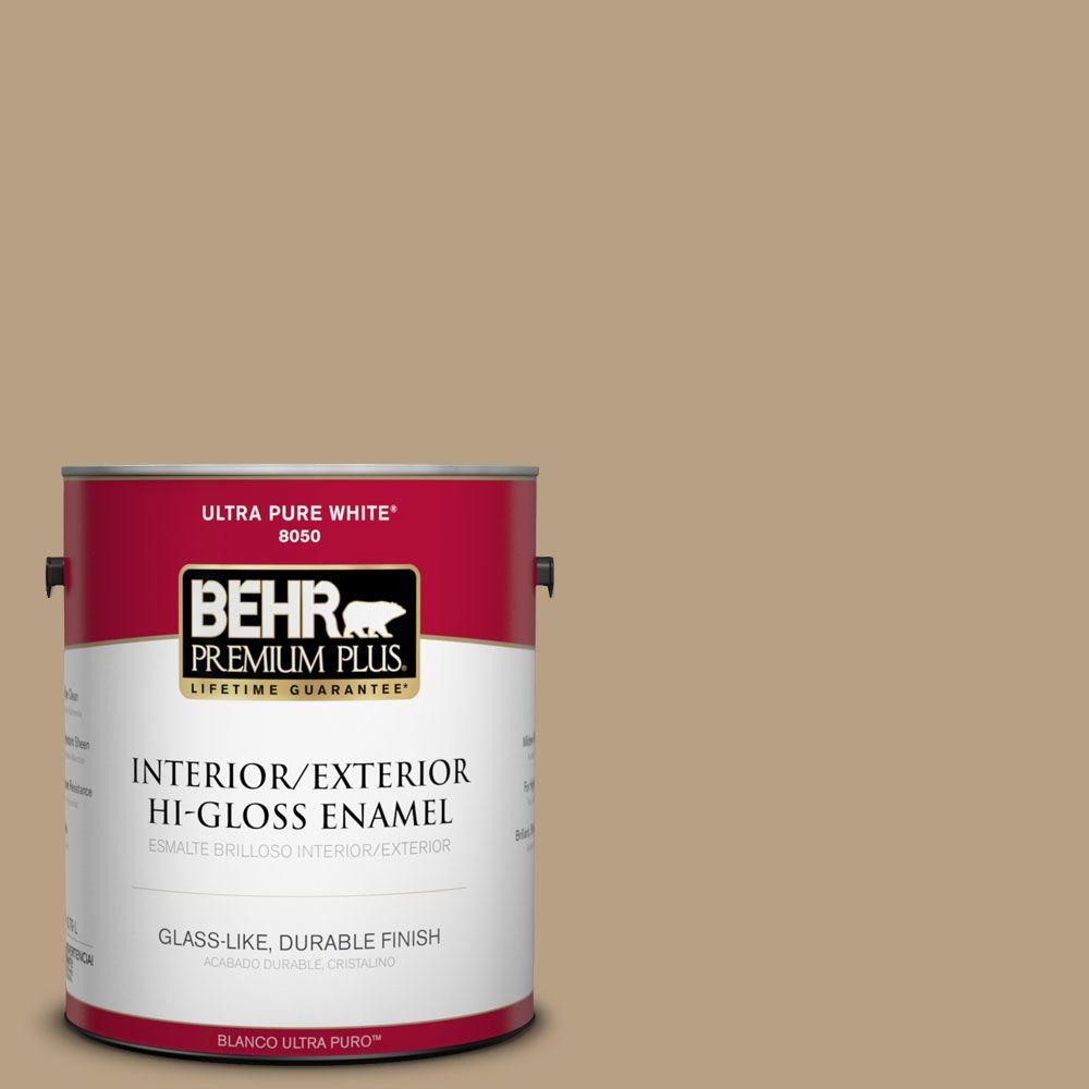 BEHR Premium Plus Home Decorators Collection 1-gal. #HDC-AC-12 Craft Brown Hi-Gloss Enamel Interior/Exterior Paint