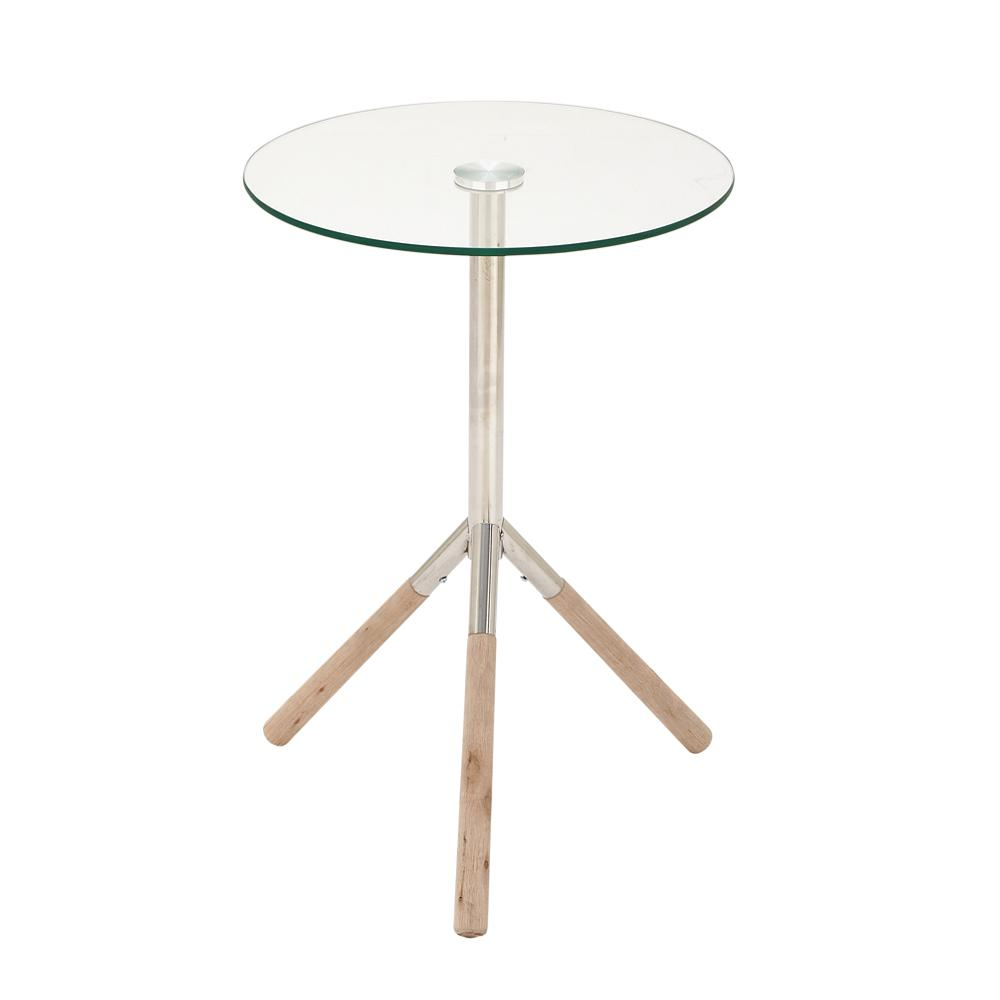 Silver Stainless Steel And Gl Round Accent Table