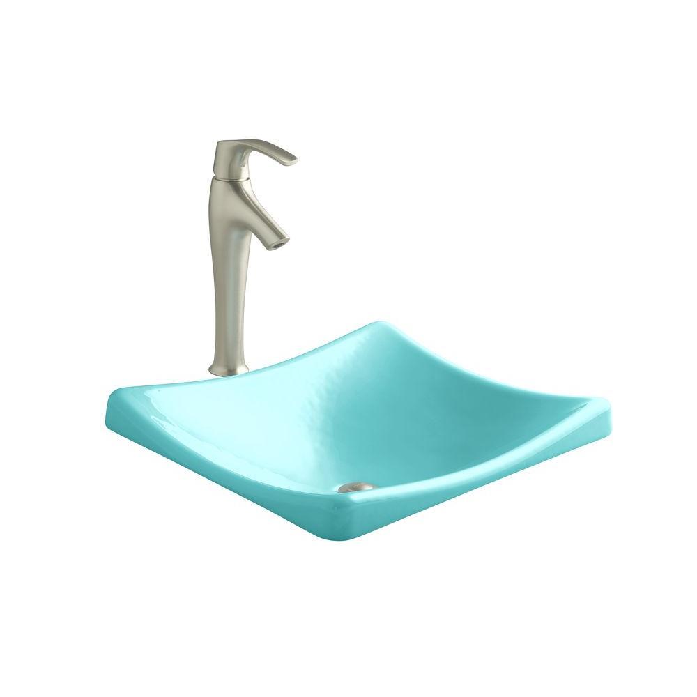 KOHLER DemiLav Wading Pool Cast Iron Vessel Sink in Vapour Green-K ...