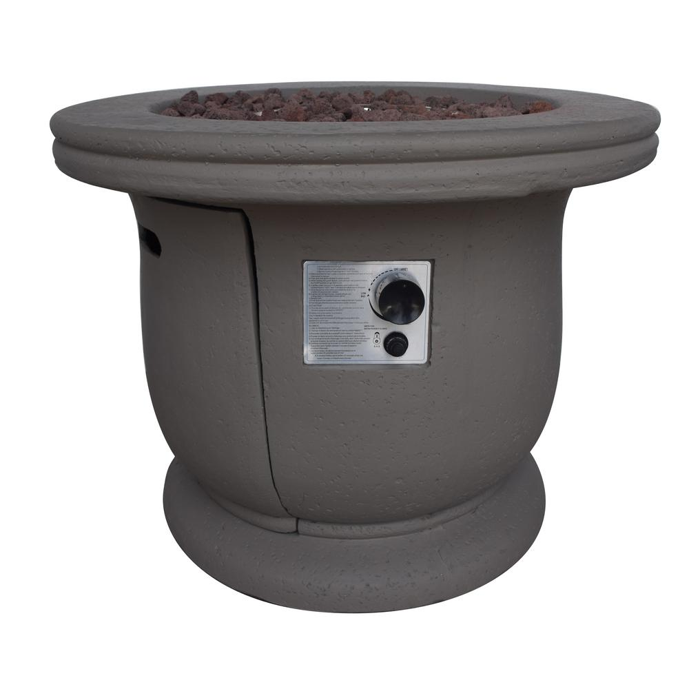 Noble House Brooks 24 in. x 31 in. Circular Concrete Propane Fire Pit in Light Gray