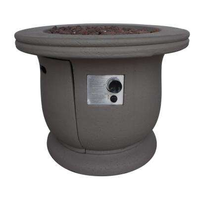 Brooks 24 in. x 31 in. Circular Concrete Propane Fire Pit in Light Gray