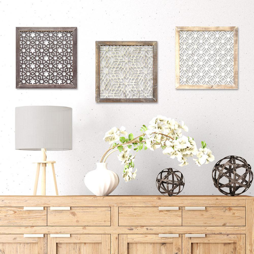 Stratton Home Decor 16 inch x 16 inch Stratton Home Decor Framed Laser-Cut Wall Decor by Stratton Home Decor