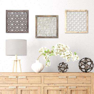 16 in. x 16 in. Stratton Home Decor Framed Laser-Cut Wall Decor