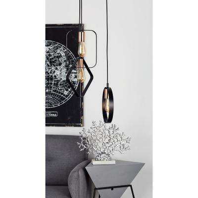 12 in. Silver Pendant Light with 3-Geometric Band Frame