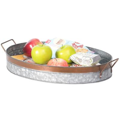Galvanized Metal Oval Rustic Serving Tray With Handles
