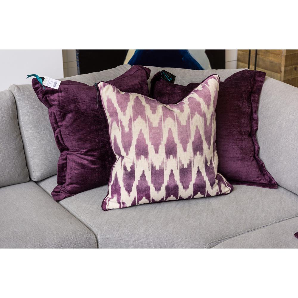 Neva Plum 22 in. x 22 in. Square Pattern Stonewash Decorative Pillow