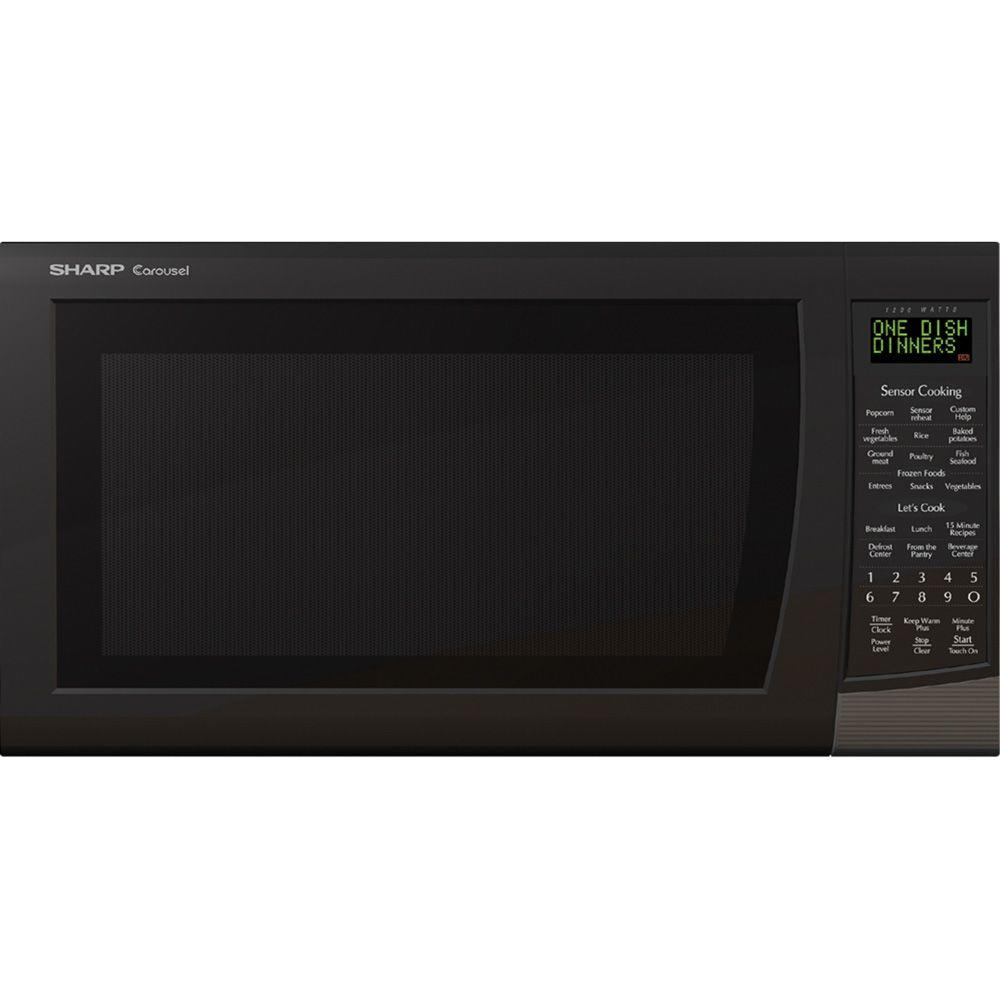Sharp Carousel 2.0 cu. ft. Countertop Microwave in Black with Sensor Cooking-DISCONTINUED