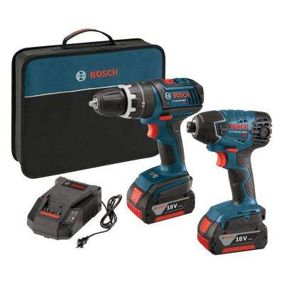 18-Volt Lithium-Ion Cordless 1/2 in. Hammer Drill/Driver and 1/4 in. Impact Driver Kit with 2-4.0 Ah Batteries (2-Tool)