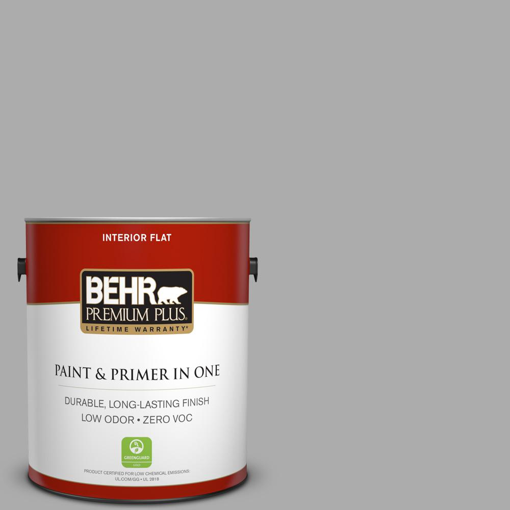 BEHR Premium Plus 1 gal. #N520-3 Flannel Gray Flat Zero VOC Interior Paint and Primer in One