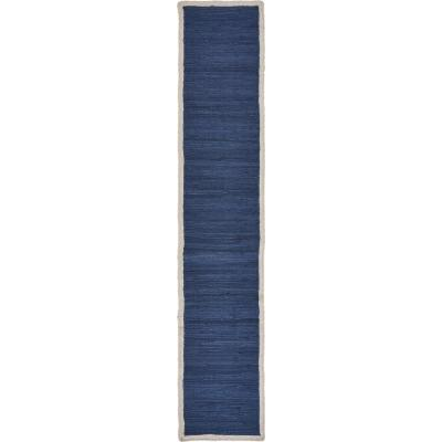 Bordered 16 in. W x 80 in. L Indigo Blue Cotton Loomed Solid Table Runner