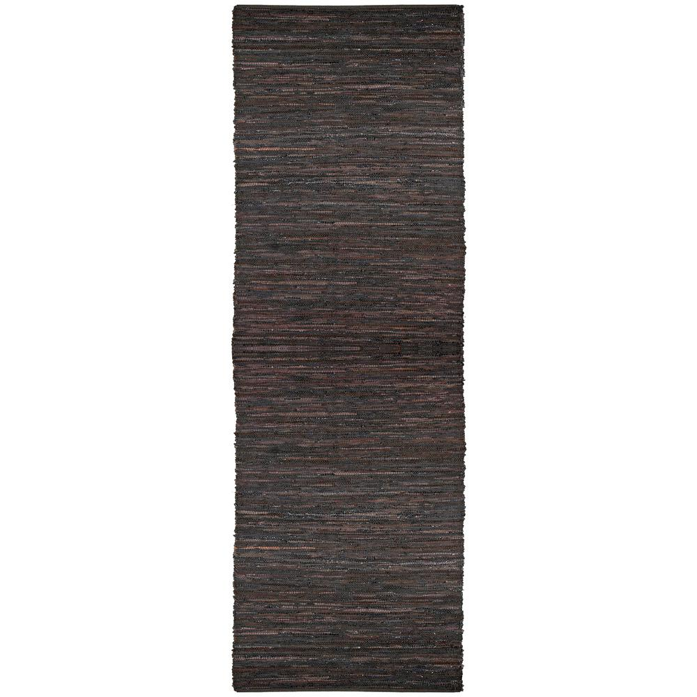 MATADOR Brown Leather 3 ft. x 14 ft. Runner Rug