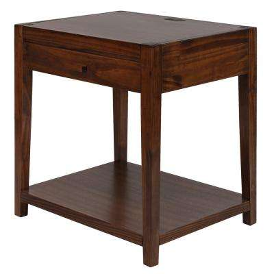 Notre Dame Warm Brown Nightstand with USB Port