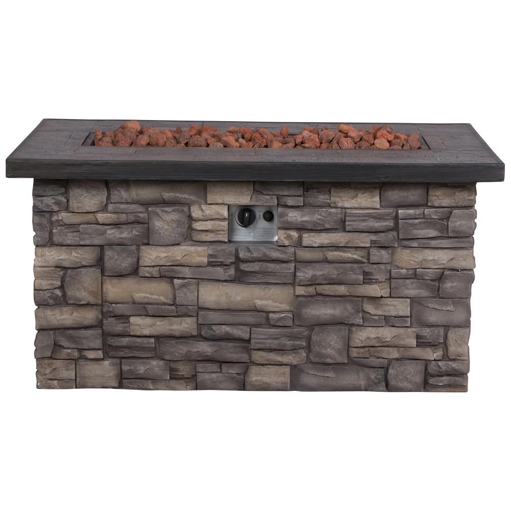 Shine Company Sevilla 48 in. Dia Rectangular Magnesia Propane Gas Stone Outdoor Fire Pit Table with Lava Rock