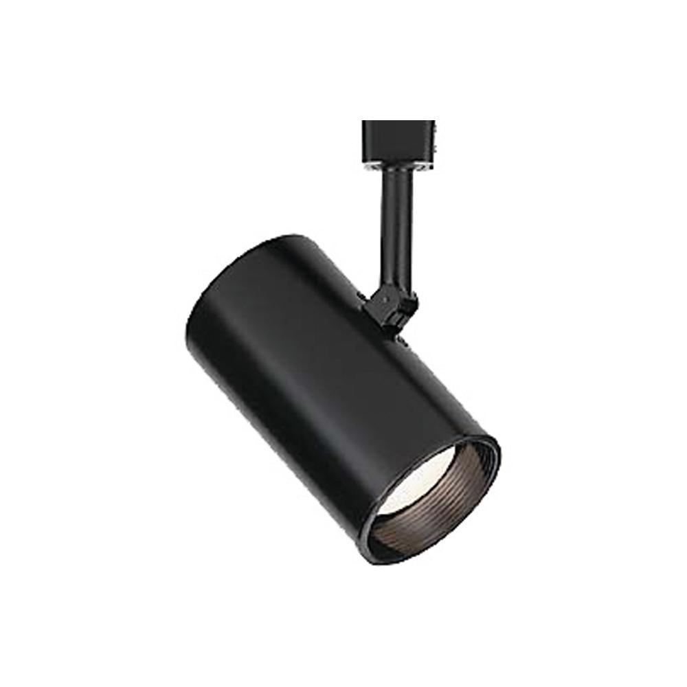 1-Light Black Adjustable Large Flat Back Cylinder Track Lighting Head