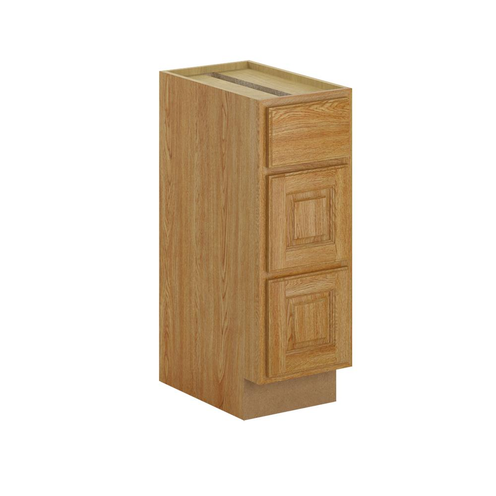 Hampton Bay Madison Assembled In Bathroom Vanity Drawer Base Cabinet In Medium Oak