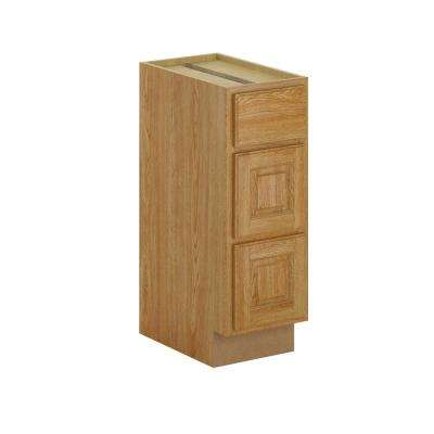 Madison Assembled 12x34.5x21 in. Bathroom Vanity Drawer Base Cabinet in Warm Oak