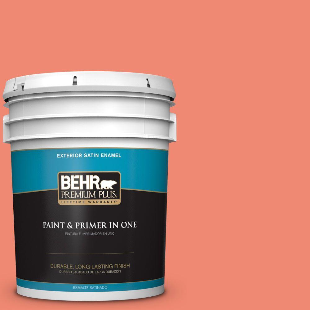 BEHR Premium Plus 5-gal. #190B-5 Juicy Passionfruit Satin Enamel Exterior Paint
