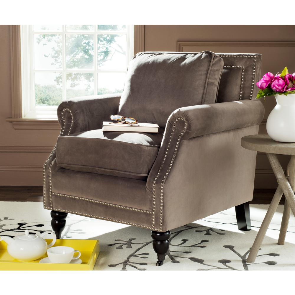Karsen Mushroom Taupe/Espresso Cotton Blend Arm Chair