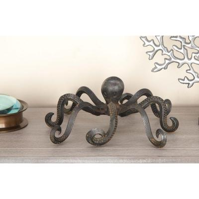 4 in. x 12 in. Decorative Octopus Sculpture in Tarnished Black Iron