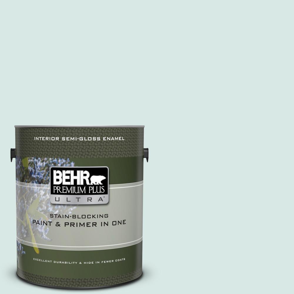 BEHR Premium Plus Ultra 1 gal. #500E-2 Aqua Breeze Semi-Gloss Enamel Interior Paint and Primer in One