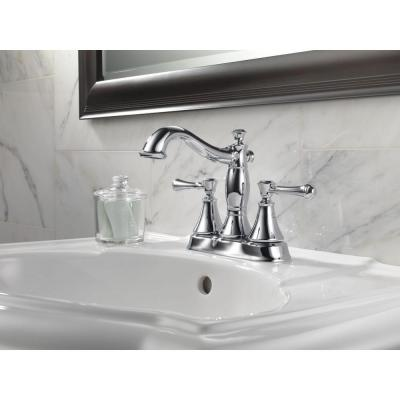 Cassidy 4 in. Centerset 2-Handle Bathroom Faucet with Metal Drain Assembly in Chrome