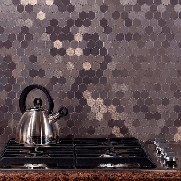 Peachy Honeycomb Matted 12 In X 4 In Brushed Stainless Metal Decorative Tile Backsplash 1 Sq Ft Beutiful Home Inspiration Truamahrainfo