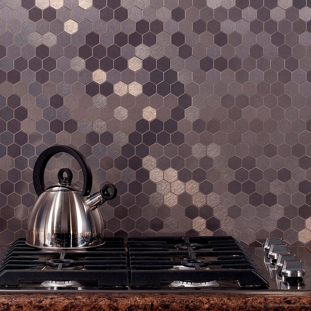 Aspect Honeycomb Matted 12 In X 4 Brushed Stainless Metal Decorative Tile Backsplash
