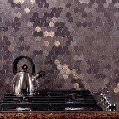 Honeycomb Matted 12 in. x 4 in. Brushed Stainless Metal Decorative Tile Backsplash (1 sq. ft.)