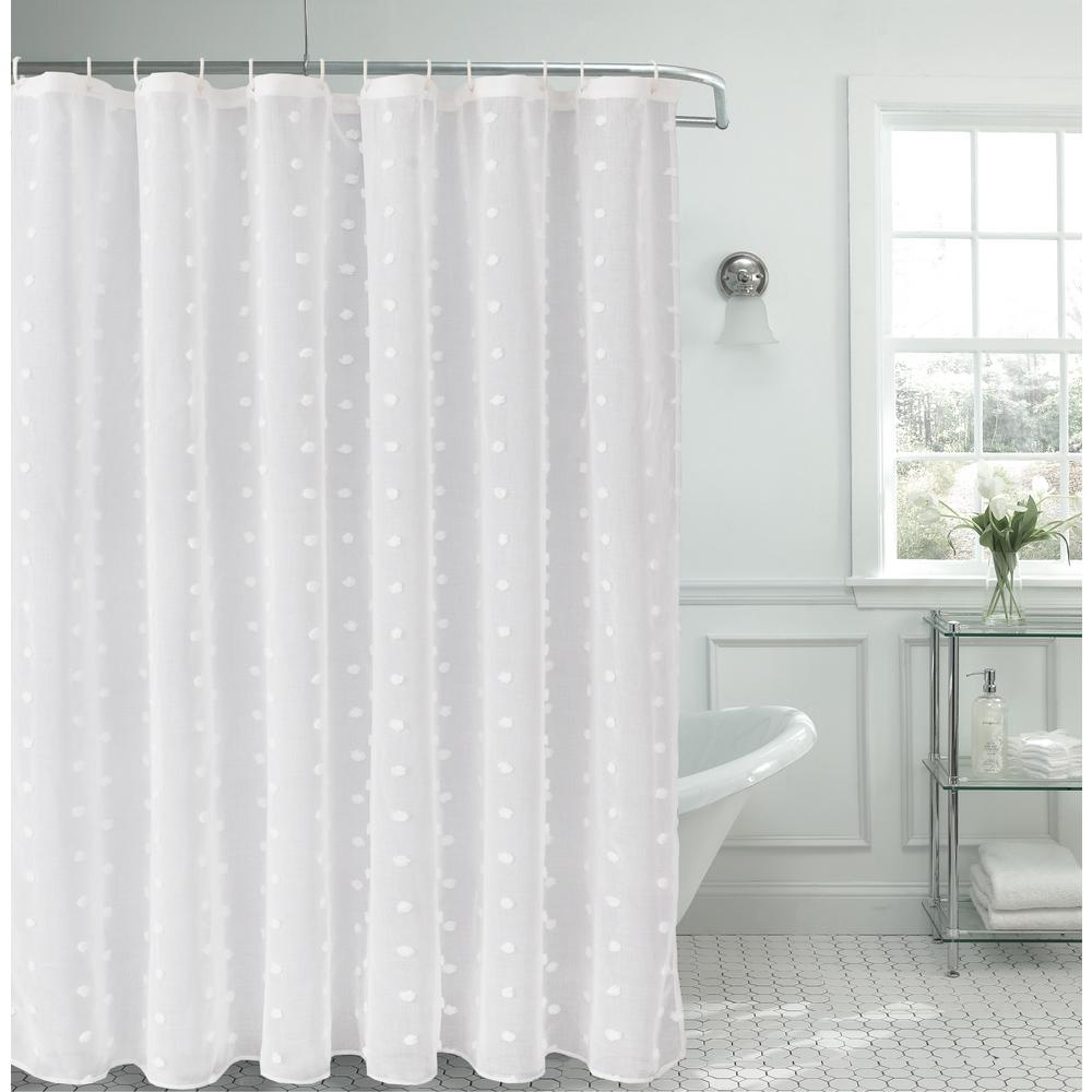 Dainty Home Snowball 72 In Linen Look Fabric Shower Curtain Sbscwh