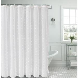 Snowball 72 inch Linen Look Fabric Shower Curtain by